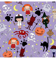 Halloween characters seamless pattern vector image