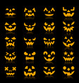 halloween pumpkin color silhouette face icon set vector image vector image