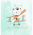 hand drawing plane and cute bear print design