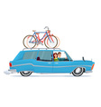 Happy family riding in a blue car Bicycle trip vector image