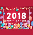 happy new year 2018 greeting card with flying vector image vector image