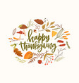 happy thanksgiving calligraphic lettering vector image