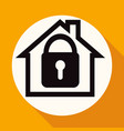 icon house on white circle with a long shadow vector image vector image