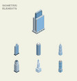 isometric skyscraper set of exterior tower vector image vector image