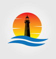lighthouse sunset water wave logo vector image vector image