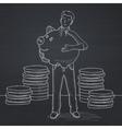 Man carrying piggy bank vector image vector image