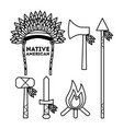 native american weapons tools icons set outline vector image vector image