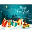 New Year gift boxes on white snow vector image vector image