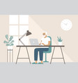 old man working with his laptop at home vector image
