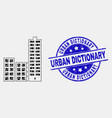 pixel city buildings icon and distress vector image vector image