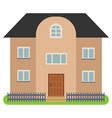 private house with a black roof and brown walls vector image vector image