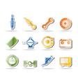 realistic car parts and services icons - vector image vector image