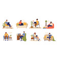 remote work characters home office business vector image