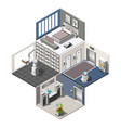 robotized hotels isometric interior vector image vector image