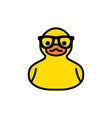 rubber yellow duck in sunglasses icon isolated vector image