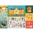 School theme set Back to school workplace school vector image