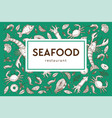 seafood restaurant sketch poster for menu or vector image vector image