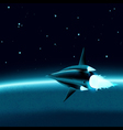 Space ship in front of a planet vector image