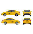 taxi realistic yellow city car vehicle branding vector image vector image