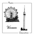 vienna prater and donauturm vector image vector image