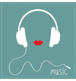 White headphones with cord Red lips Music card vector image vector image