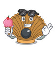 with ice cream shell with pearl character cartoon vector image
