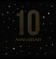 10 anniversary emblem celebration label dark color vector image vector image