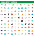 100 coast icons set cartoon style vector image vector image