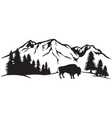 american bison and mountain landscape vector image vector image
