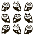 Black and white owls and owlets vector image vector image