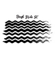black brush stroke waves set hand drawn vector image