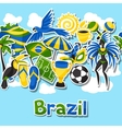 Brazil seamless pattern with sticker objects and vector image