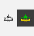 cannabis logo organic green grass on a white and vector image vector image
