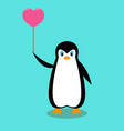 cartoon penguin with a pink ball vector image vector image