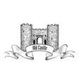 castle logo retro label vector image vector image