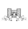 castle logo retro label vector image