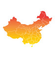 china map colorful orange on white background vector image vector image