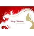 christmas red background with woman silhouette vector image vector image