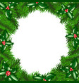 christmas tree frame with holly berry vector image vector image