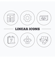 Corner sofa ceiling lamp and chest icons vector image
