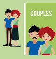 cute couples cartoons vector image vector image