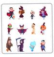 cute kids wear monsters costumes set halloween vector image vector image