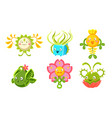 cute monsters set funny fantasy plants characters vector image vector image