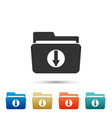 download arrow with folder icon isolated vector image vector image