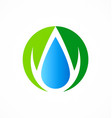 ecology abstract droplet water logo vector image vector image