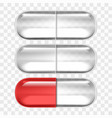 empty pills capsules isolated on transparent back vector image vector image