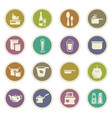 food and kitchen icons set vector image vector image