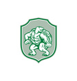 Green Turtle Fighter Mascot Shield Retro vector image vector image