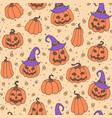 halloween pattern with candies pumpkins hats vector image