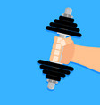 hand holding weight dumbbell vector image vector image